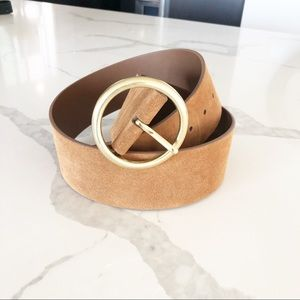Banana Republic Suede Leather Top Gold Buckle Belt